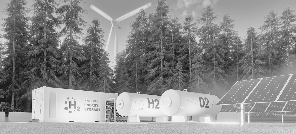 Concept of hydrogen energy storage from renewable sources - wind turbines and photovoltaics.