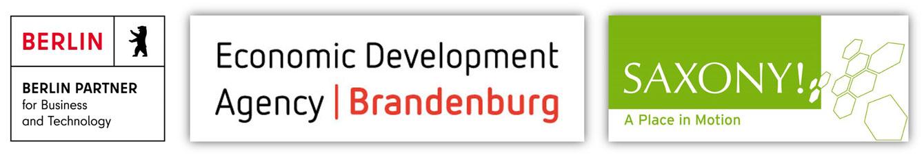 Partnerlogos: Hydrogen-Tour: Berlin Partner, Wirtschaftsförderung Brandenburg, Saxony