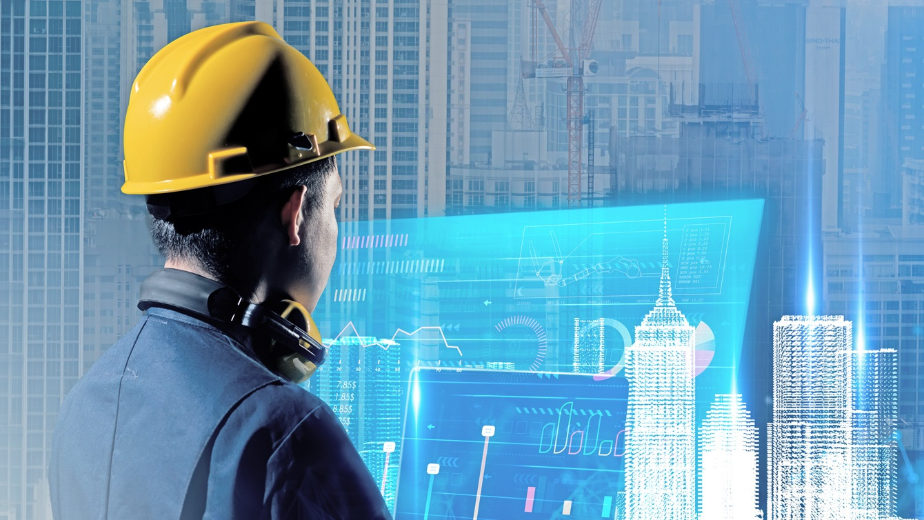 Civil Engineer, architect smart city building design AR augmented reality VR digital technology futuristic hologram ©GettyImages/Thinkhubstudio