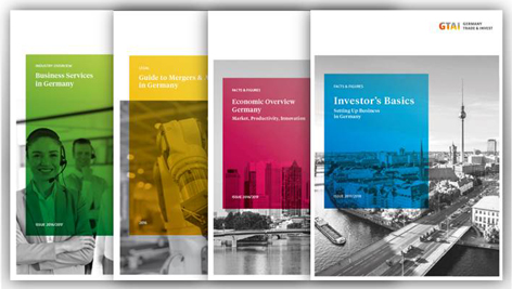 Cover verschiedener Publikationen von Germany Trade & Invest