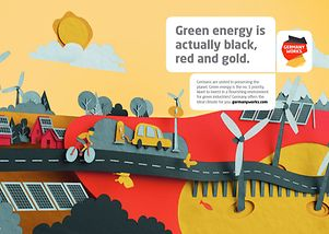 Green energy is actually black, red, and gold.