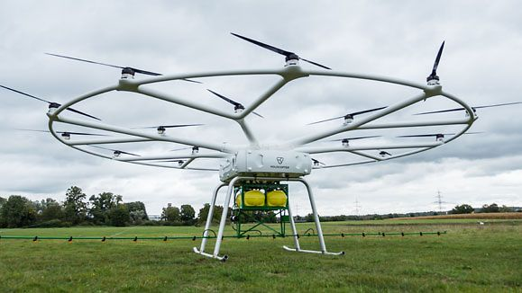 The VoloDrone is the first large drone for agricultural use, made as part of a joint venture between argicultural equipment manufacturer John Deere and Volocopter GmbH, based in Bruchsal.