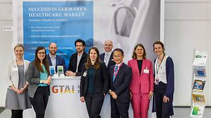 Some members of the GTAI booth team: Julia Albrecht; Julia Pietsch; Marc Lehnfeld; Nils van Look; Joanna Zygadlo; Marcus Schmidt; Hiroshi Iwamura; Kirsten Herrmann and Katrin Bartelt (from left to right)