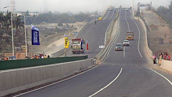Dhaka 12 March 2020. Bangladesh's first six-lane Dhaka-Mawa-Bhanga expressway on the outskirts of Dhaka. A 55-km long express highway connecting Bangladesh's largest under construction Padma Bridge on the outskirts of capital Dhaka has opened to traffic.