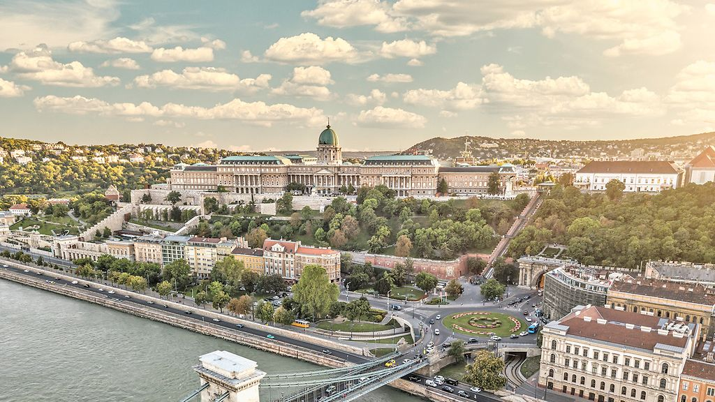 Budapest, Hungary - Aug 23, 2017. Aerial shot of the city, the castle, and the Chain Bridge