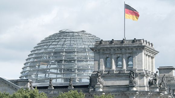Reichstag Building in Berlin with German Flag