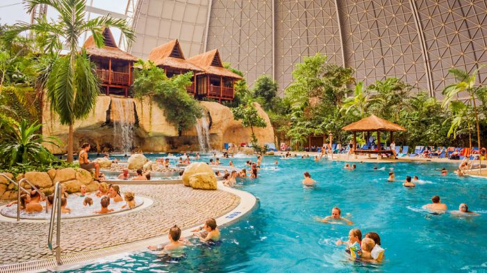 The blue lagoon at Tropical Island Berlin, a vast climate-controlled dome which has been basking in its own success since 2004.