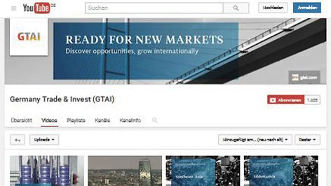 YouTube-Kanal von Germany Trade & Invest